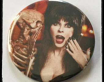 "Elvira, Mistress of the Dark - Large 2 1/4"" Pin Back Button, or bottle opener"