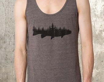 Men's Tank Top - Fish and Forest - Tri-Blend Tank Top - American Apparel - All Sizes Available
