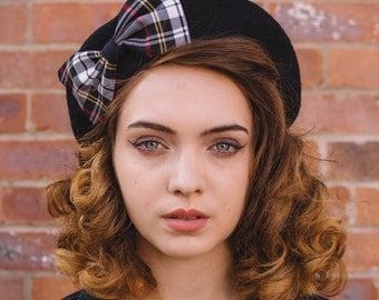 Black Hat, Black Beret Hat with Black-White Tartan Bow, Black Wool Beret Hat, Black Felt Beret Hat, Black French Beret Hat, Black Winter Hat