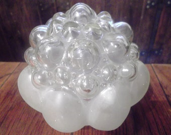 antique Art Deco Glass Lamp Shades, clear and frosted glass, 1930s, 4 available