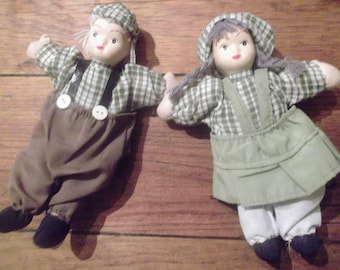 2 Vintage Portuguese dolls, boy and girl, country, folk, handmade, french peasant girl, gingham