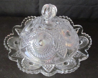 Vintage Round Domed Glass Butter Dish,  Scalloped Edge, Swirl Design, Domed Butter Dish