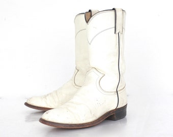 Vintage Justin Cowboy Boots / Justin Stable Boot / White Boot / Western Boot / Majorette Boot / Womens 6B