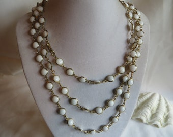 "55"" Vintage White Pearl Necklace"