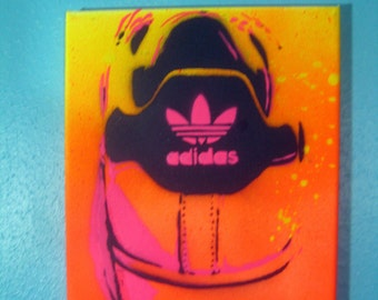 Adidas Bright Neon Yellow Glows in Black Light Stencil Painting Sneaker Shoe Art