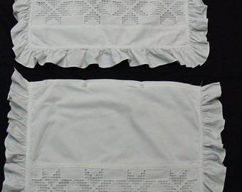Vintage Pillow Shams,Norwegian Hardanger Embroidery So Beautiful