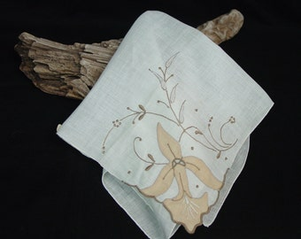 Elegant Vintage Hanky, Hankerchief Made in Madeira, Applique,Embroidery, Label,Unused