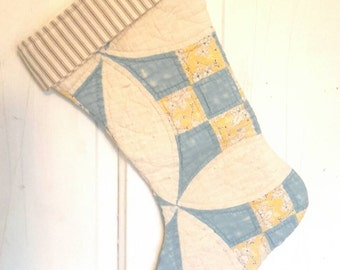 Vintage Quilt Stocking in Blue and Yellow
