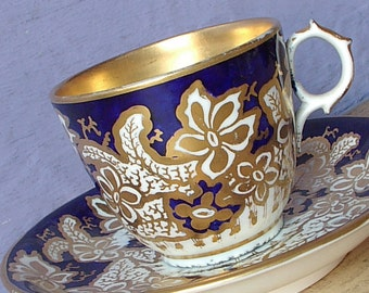 Antique 1800's English Teacup and Saucer, Flow Blue tea cup, Blue and gold tea cup, Antique teacup, Antique porcelain tea cup, Victorian