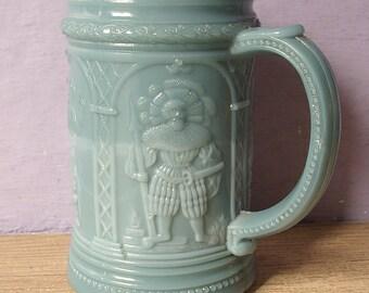Antique 1910's Westmoreland glass mug, Knights, Greentown Blue slag glass beer mug, Antique glass beer stein Blue glass mug Medieval Barware