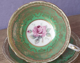Vintage 1950's Kelly Green Tea cup and Saucer, Paragon tea cup, Pink rose teacup, English tea cup, Bone china teacup, Mother's Day gift