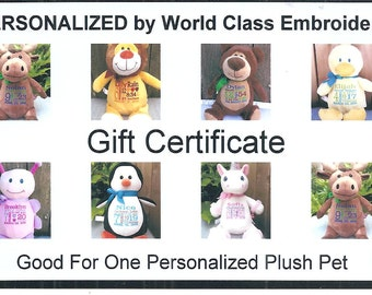 Gift Certificate For One Personalized Pet