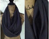 """CUSTOM ORDER for BECKY double pocket black jersey knit 75"""" scarf"""