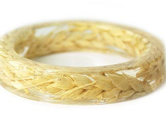 Wheat Jewelry- Real Flower Bangle- Real Flower Resin Jewelry - Jewelry made with Flowers- Wheat Bracelet