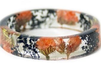 Bracelet - Real Flower Jewelry- Flower Jewelry- Jewelry with Real Flowers- Orange Flowers- black Bracelet -Resin Jewelry- orange Bangle