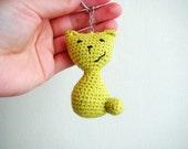 Crochet keychain amigurumi cat thank you gift ideas cat keychain keyring cool keychain teacher gift ideas amigurumi cat crochet cat green