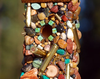 Birdhouse Recycled Bullet Shell for Hunters from Oregon man cave decor guns firearms up cycled green birdhouse outdoor nature lover wrens