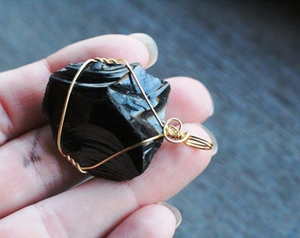 Obsidian Raw Gold Wire Wrapped Pendant #6308