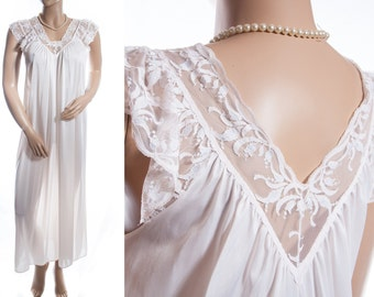 Seductive 'Bendon' silky soft glossy rich cream nylon and matching delicate floral design lace 1980's vintage full length nightgown - 3556