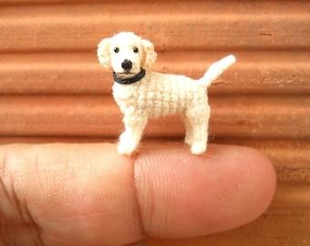 Miniature White Labrador Retriever - Tiny Crochet Dog Stuffed Animals - Made To Order