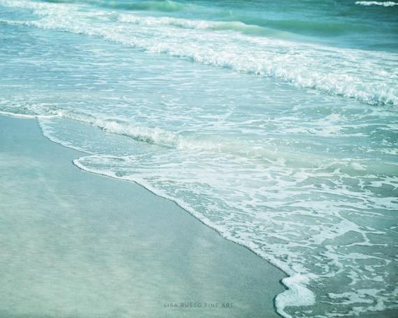 Ocean Print or Canvas Art, Beach Decor, Beach Photography, Teal Aqua Turquoise Waves, Seascape, Shore, Beach Print.