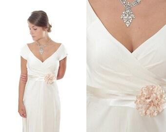 Ivory Silk Bridal Belt W/ Blush Pink Flower Handmade Wedding Belt Sash Off-White Cream Ombre One of a Kind 1000256