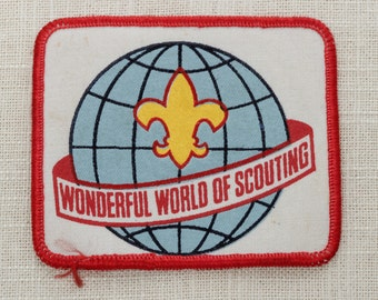 Vintage 1960s Patch | Wonderful World of Scouting | Globe Graphic Vintage Iron On (Or Sew On) Patch - Boy Scouts of America | Jacket Patch