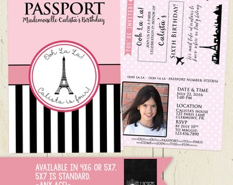 Paris Passport Digital Birthday Invitation Two-Sided