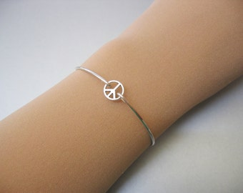 PEACE SYMBOL TINY bangle bracelet