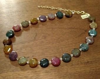 Rainbow Agate & Crystal Necklace (N1068)