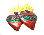 green sacred heart tin earrings, big discount