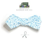 """Bow tie,  mans, blue floral cotton print - adjustable to collar size 14 to 18 1/2"""" -  self-tie for men - diamond point - ships worldwide"""