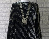 ON SALE Vintage Sequin Sweater, 1970s Disco Sweater, Dolman Sleeves, Black and Gold Sequins