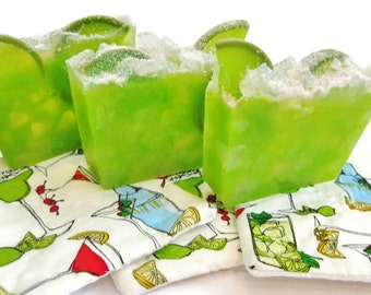 Margarita on The Rocks Soap, Pink Himalayan Sea Salt, lime wedge, Cinco de Mayo, Happy Hour, gift idea