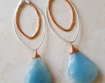 Blue Earrings - Handmade earrings - Long Dangle Earrings - Mixed Metals - Marquise earrings - Copper & Silver - Wire wrapped