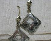 Ukrainian Silver Earrings. Niello & Vermeil. 925 Diamond Shaped. Ethnic Folk Jewelry