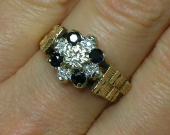 Sapphire & Diamond Engagement Ring, English. 1970s does Medieval, Retro Brutalist, Unusual. Size 6