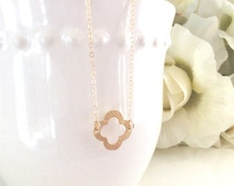 Gold Necklace, Quatrefoil Necklace, Dainty Gold Necklace, Bridesmaid Necklace, Bridesmaids Gifts, gifts for her best friend gifts graduation