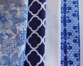 Blue Cloth Napkins - Navy Napkins - Blue Flower Napkins - Navy Geometric Napkins -  White Napkins - Indigo Napkins - Navy Trellis Napkins