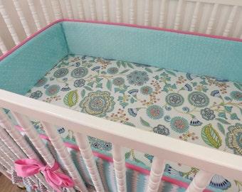 Girl Crib Bedding, Baby Girl Bedding,Baby Bedding, Ready to Ship, Custom Bedding, Girl Bedding Set, Floral Crib Bedding, Floral Baby Bedding
