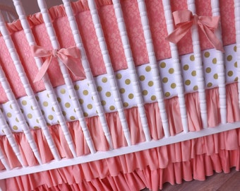 Lace Girl Crib Bedding- Coral Baby Bedding MADE TO ORDER---Girl Bedding Set- Lace Baby Bedding Set- Coral and Gold