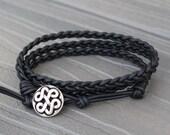 READY TO SHIP - Black Braided Triple Leather Wrap Bracelet - Boho