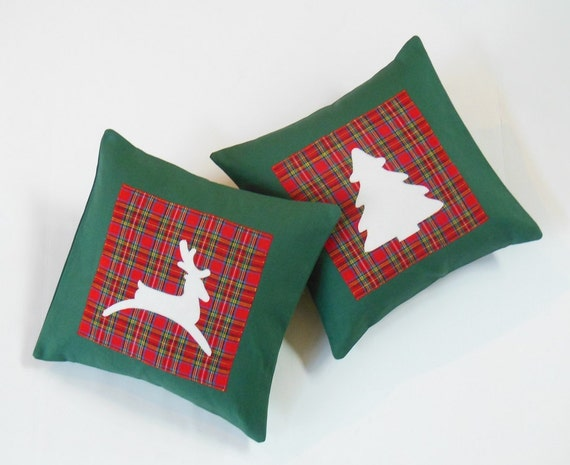 Red Green Tartan Plaid Christmas Reindeer Pillow