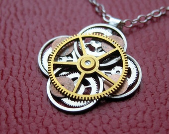 "Clockwork Flower Necklace ""Aiton"" Elegant Recycled Watch Parts Gear Pendant Mechanical Plant Balance Wheel Petals Valentine's Day Gift"