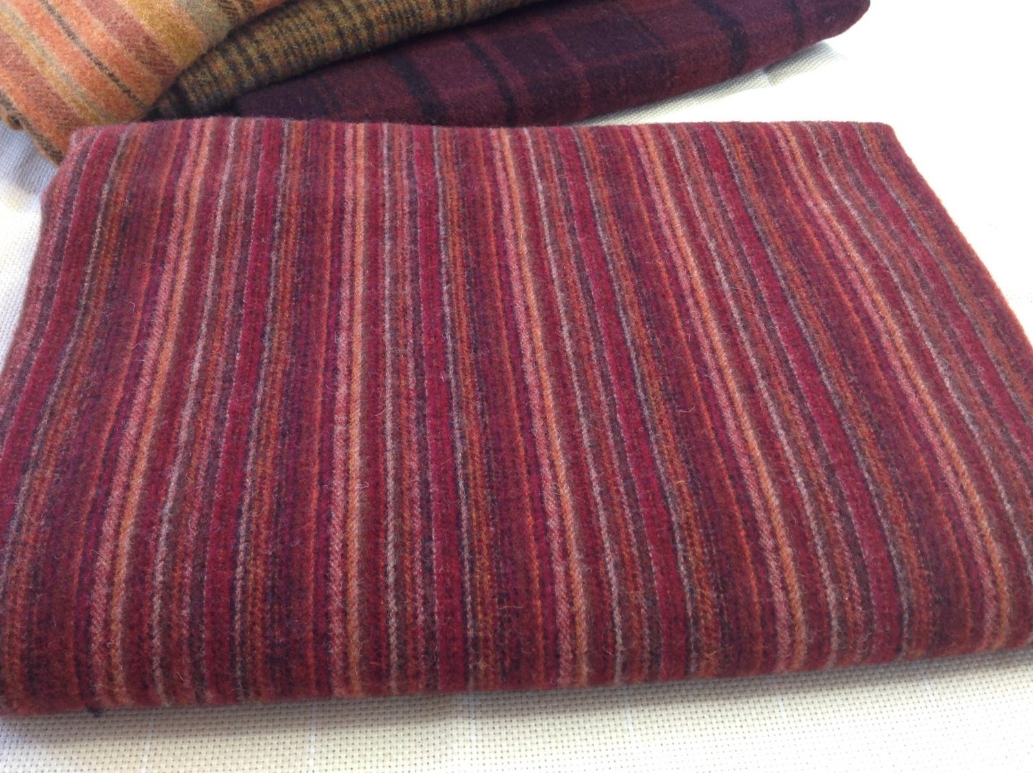 Rich Red Stripe Wool Fabric For Rug Hooking And Appliqu 233