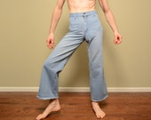 vintage 60s 70s Landlubber jeans wide leg bellbottom 1960 1970 navy sailor jeans hippie pants high waist 27x29 27 waist