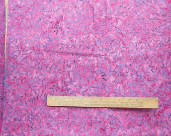 Marbled Blue Gray Fuchsia Leaf Vine 1 Yard Central Java Batik Quilting Cotton Fabric