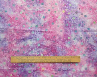 Marbled Dots Aqua Fuchsia Lavender Pink 1 Yard Central Java Batik Quilting Cotton Fabric