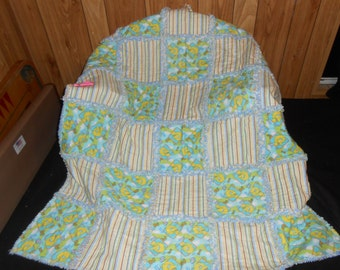 Sesame Street Big Bird 123 Stripes Raggedy Rag Flannel Baby Toddler Crib Quilt Blanket