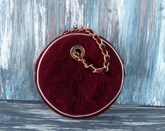 Round Evening Bag Zippered/ Burgundy Velvet/ Quilted/ Gold Accents